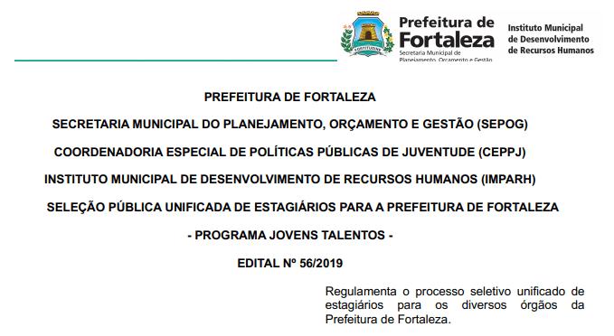 Prefeitura de Fortaleza seleciona estagiários