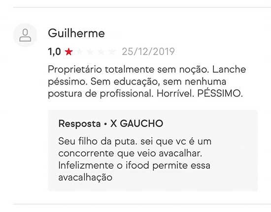 X gaúcho critica clientes no iFood
